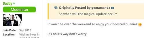 SuperSteve回复表示更新即将来临
